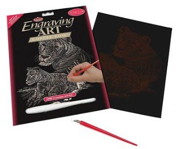 ENGRAVING ART SET - LIONESS & CUB (COPPER FOIL) by ROYAL & LANGNICKEL